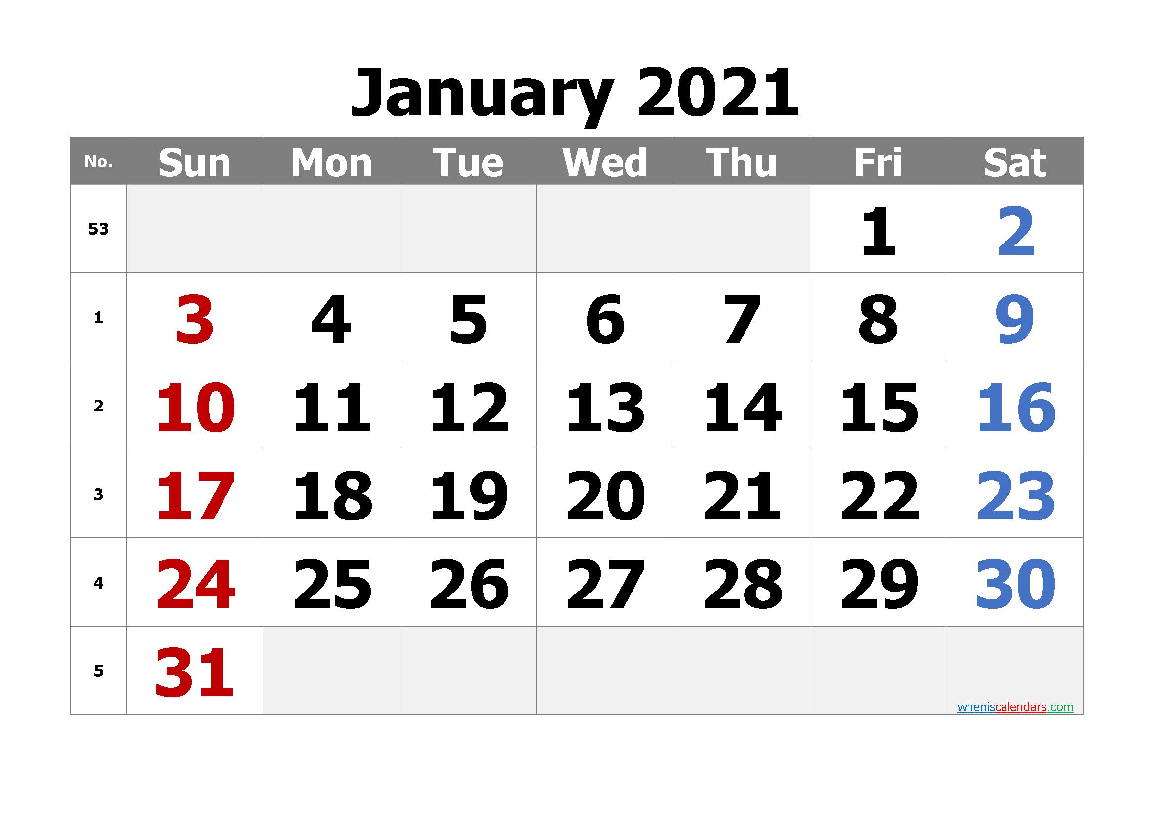Free Editable January 2021 Calendar