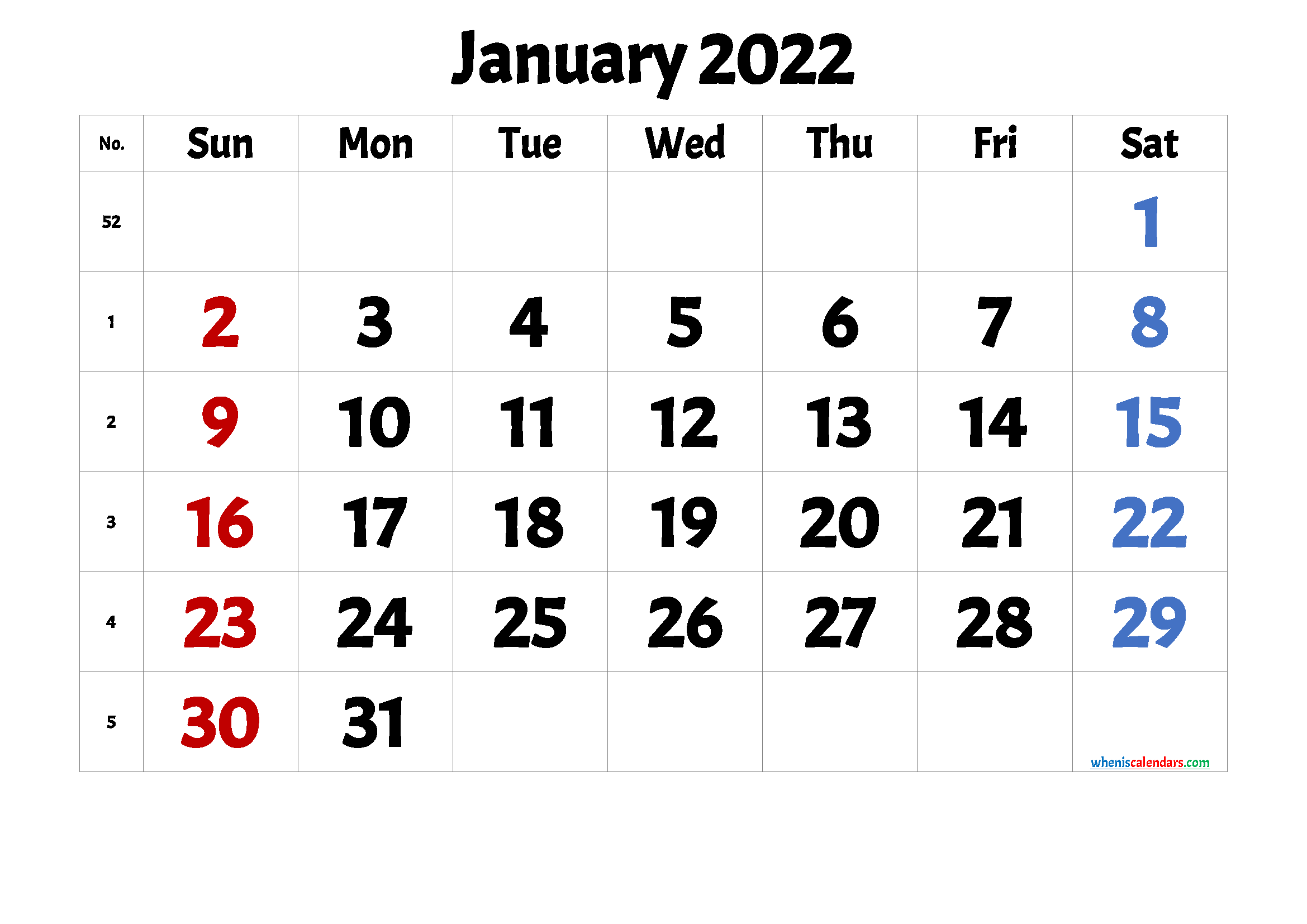 Free January 2022 Calendar.Free January 2022 Calendar Printable 1 Month 1 Page 2021 Free Printable