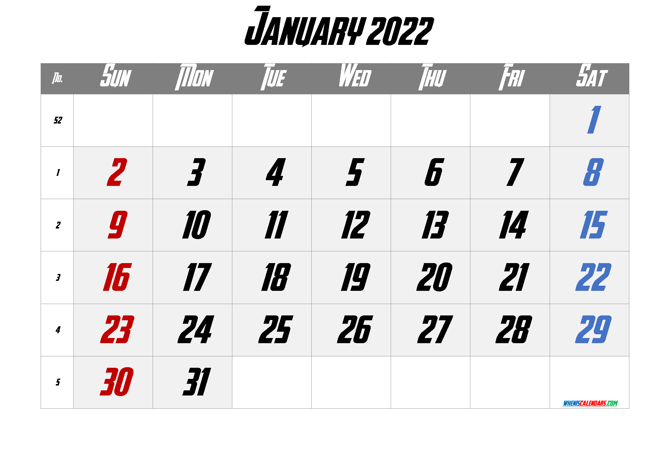 Free Printable January 2022 Calendar 12 Templates - Free ...