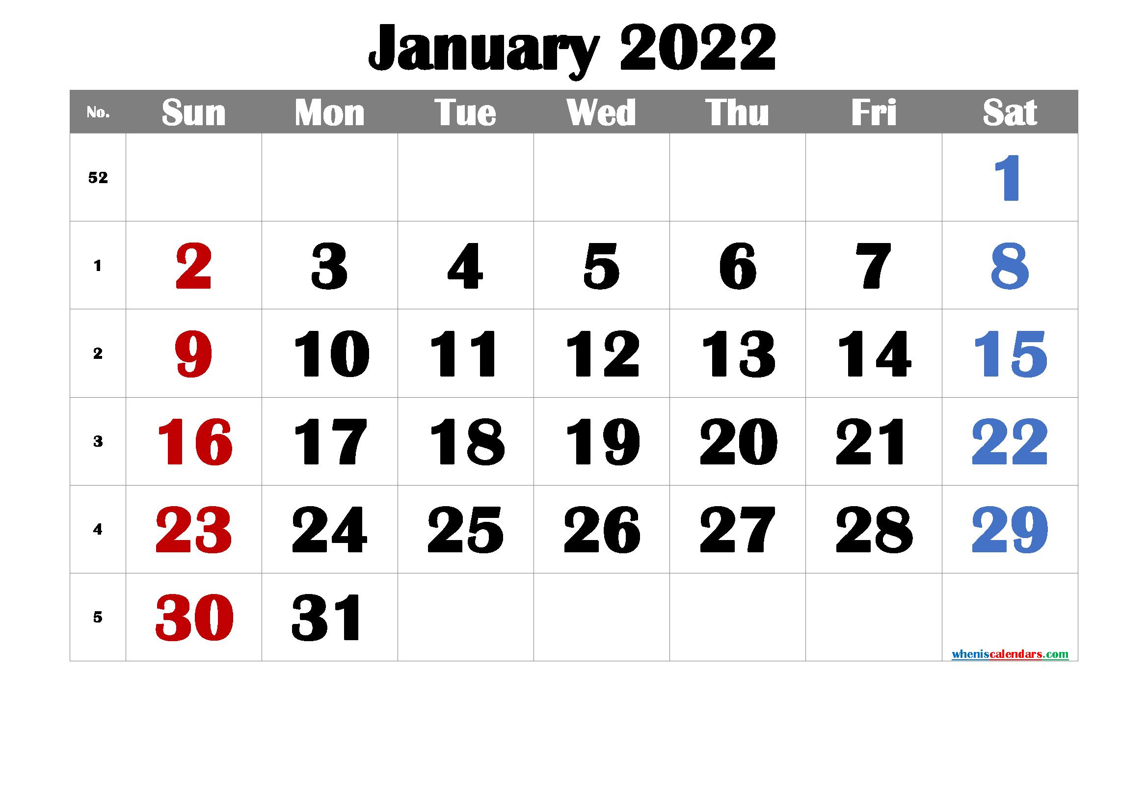 Free Printable January 2022 Calendar