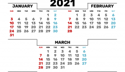 Calendar January February March 2021 Printable