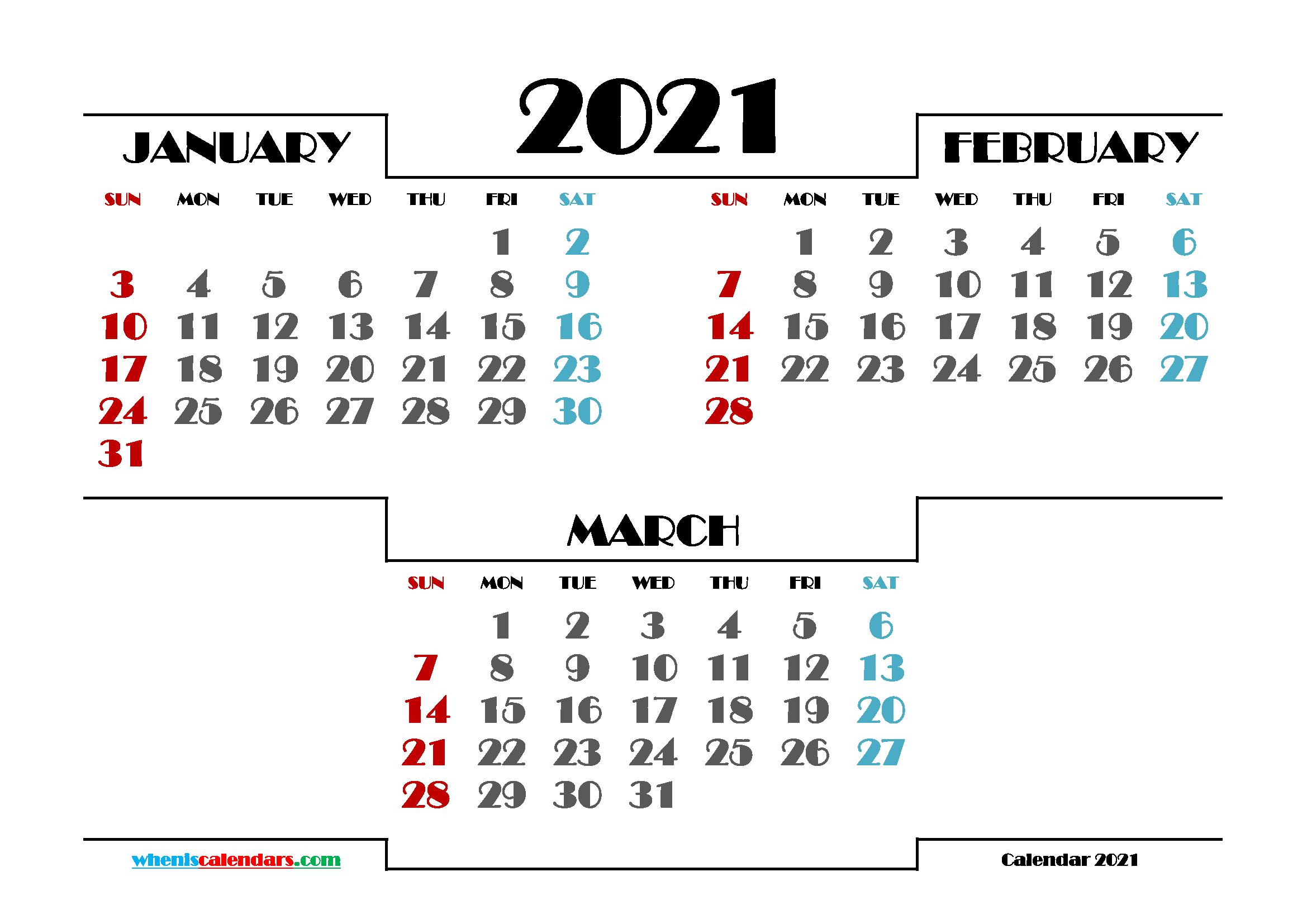 January February March 2021 Calendar Printable