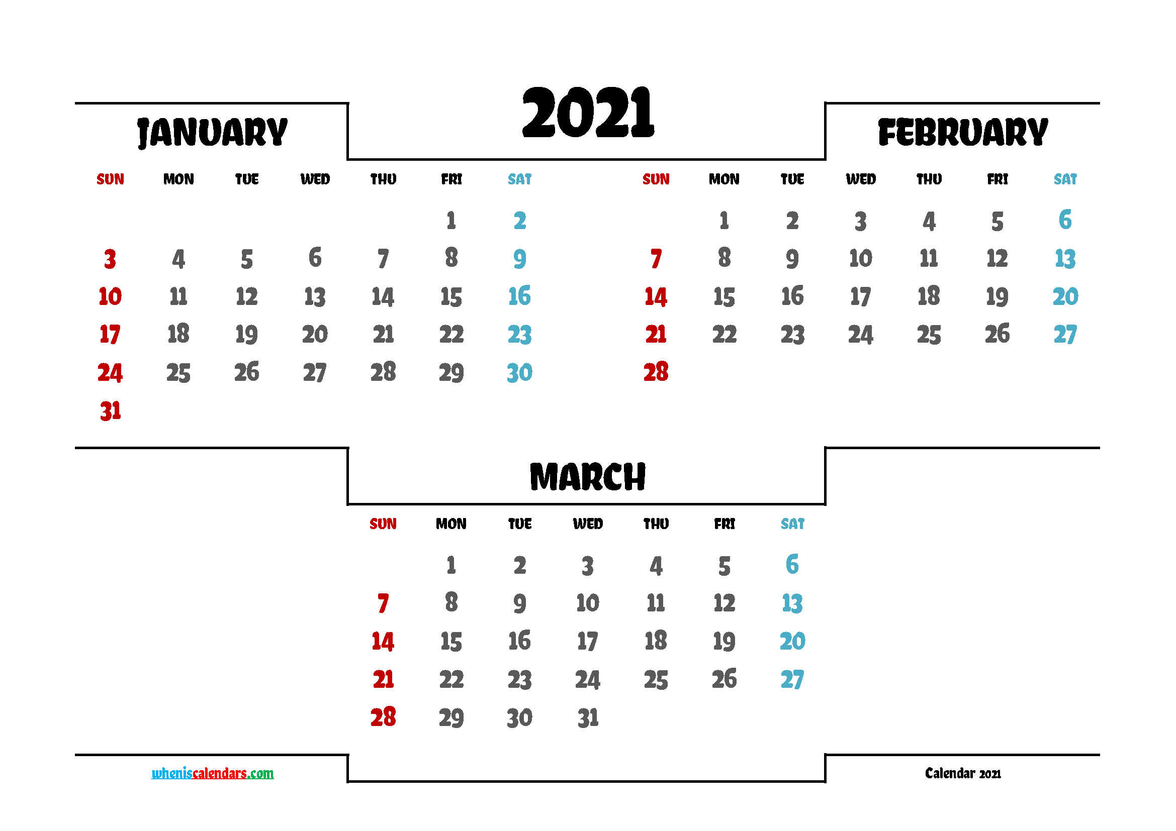 January February March 2021 Printable Calendar Free | 3 ...