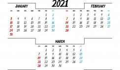 Printable January February March 2021 Calendar