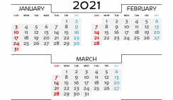 January February March 2021 Printable Calendar Free