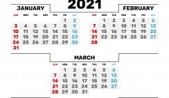 Free January February March 2021 Calendar Printable