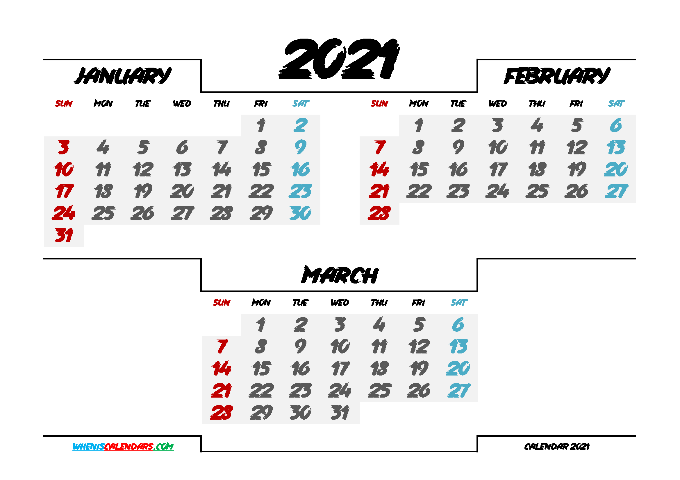 January February March 2021 Printable Calendar Free