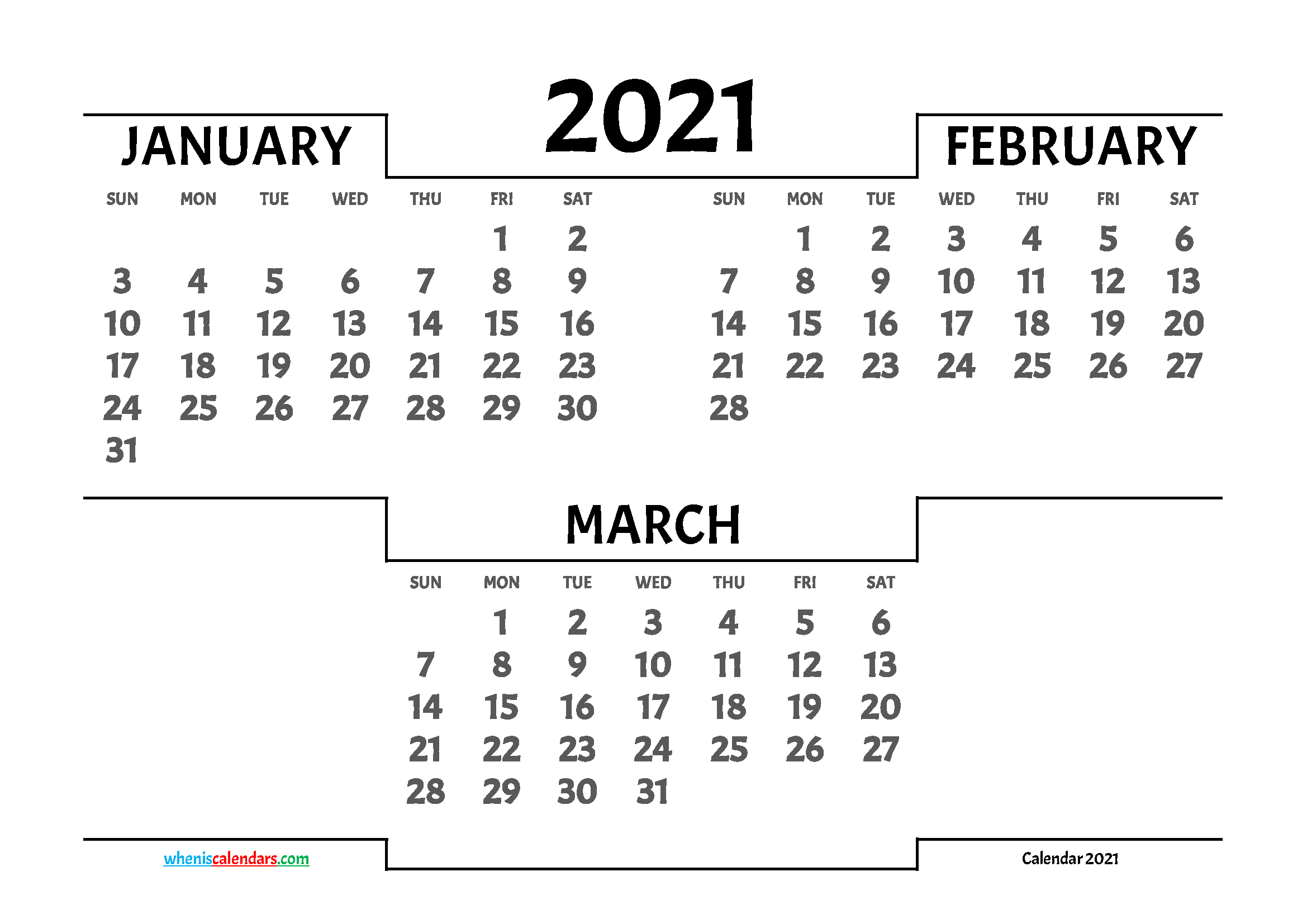 January February March 2021 Calendar Printable