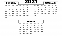 Printable January February March 2021 Calendar