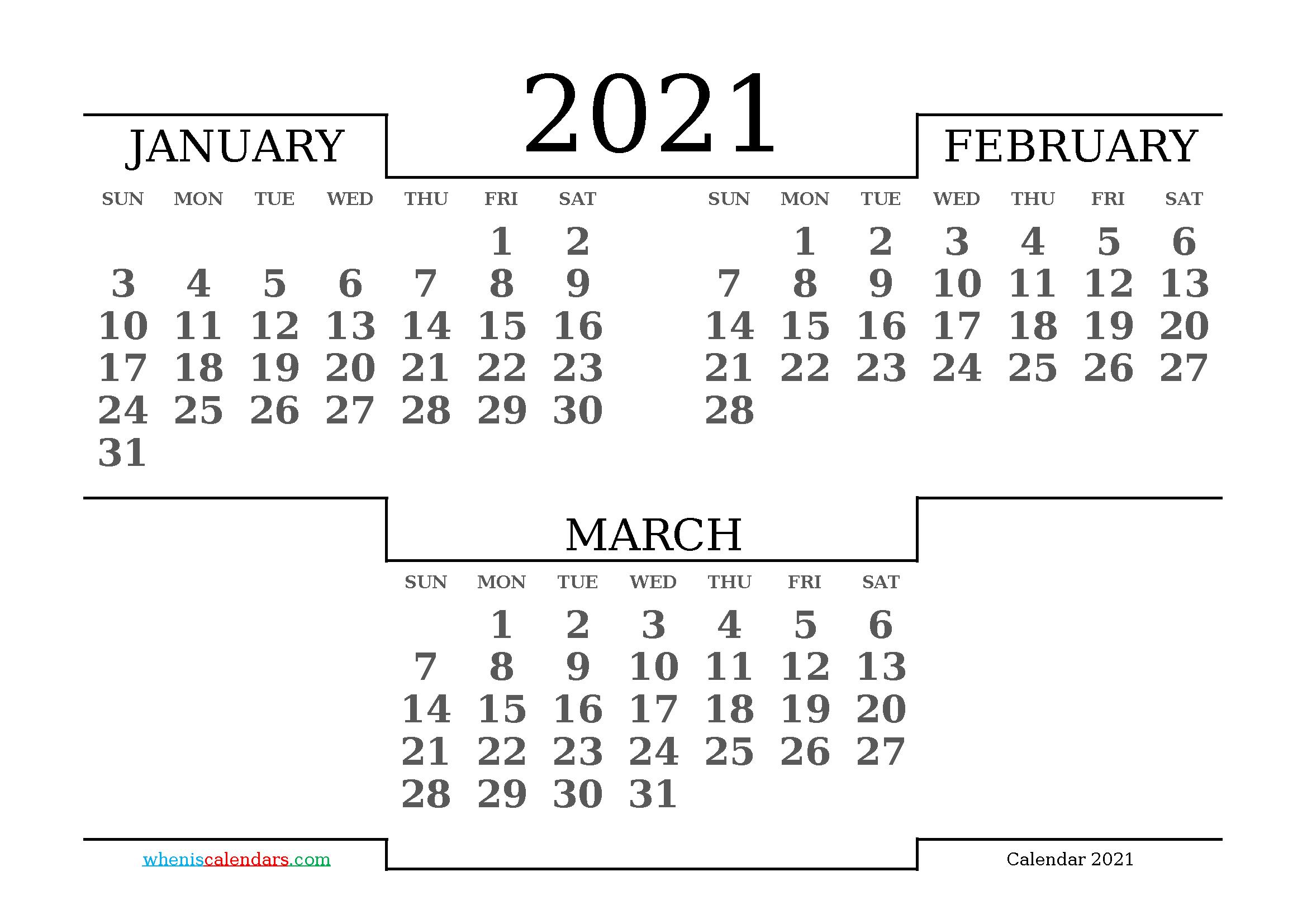 Calendar January February March 2021 Printable