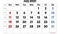 Free July 2021 Calendar Printable