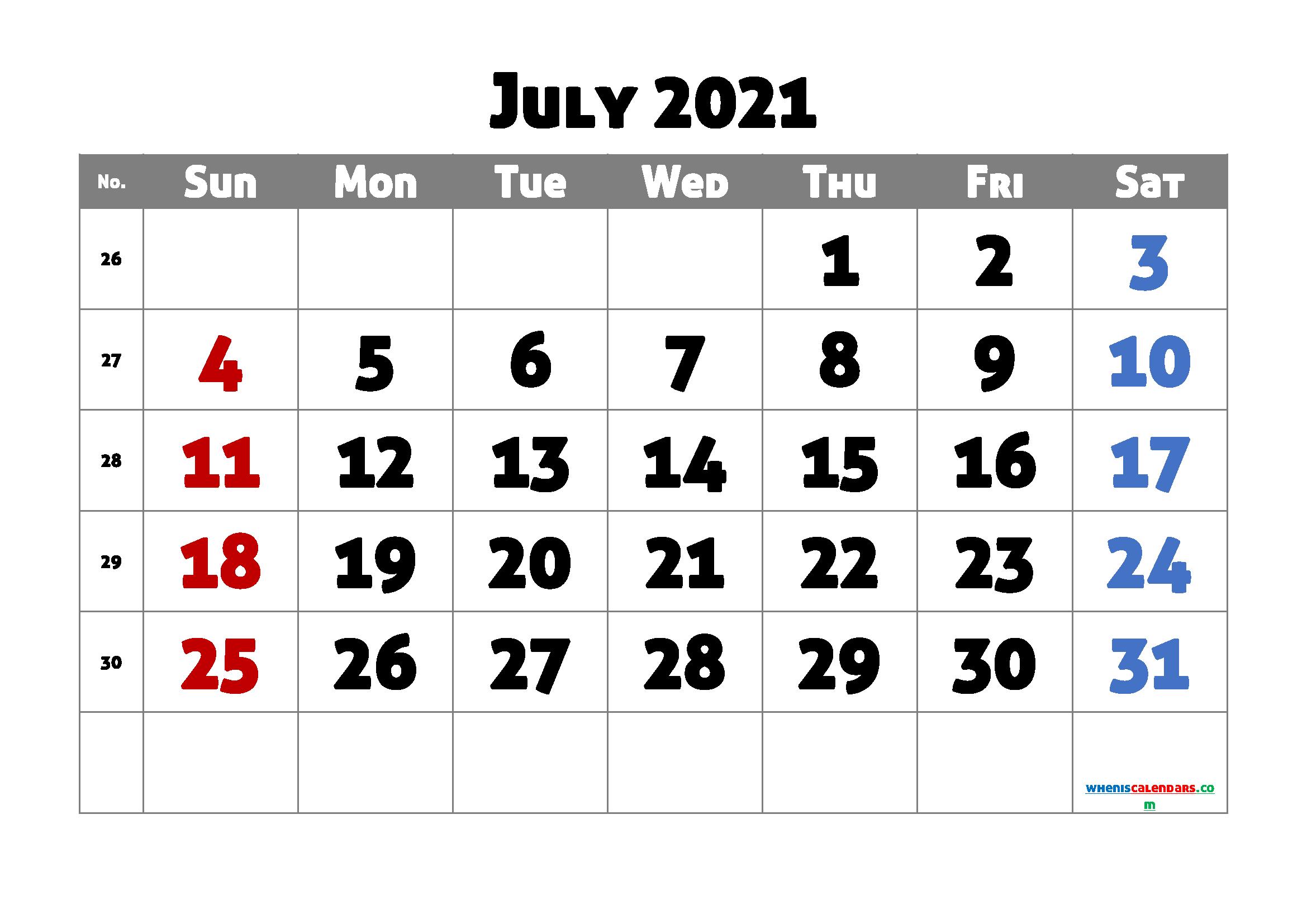 July 2021 Printable Calendar Free