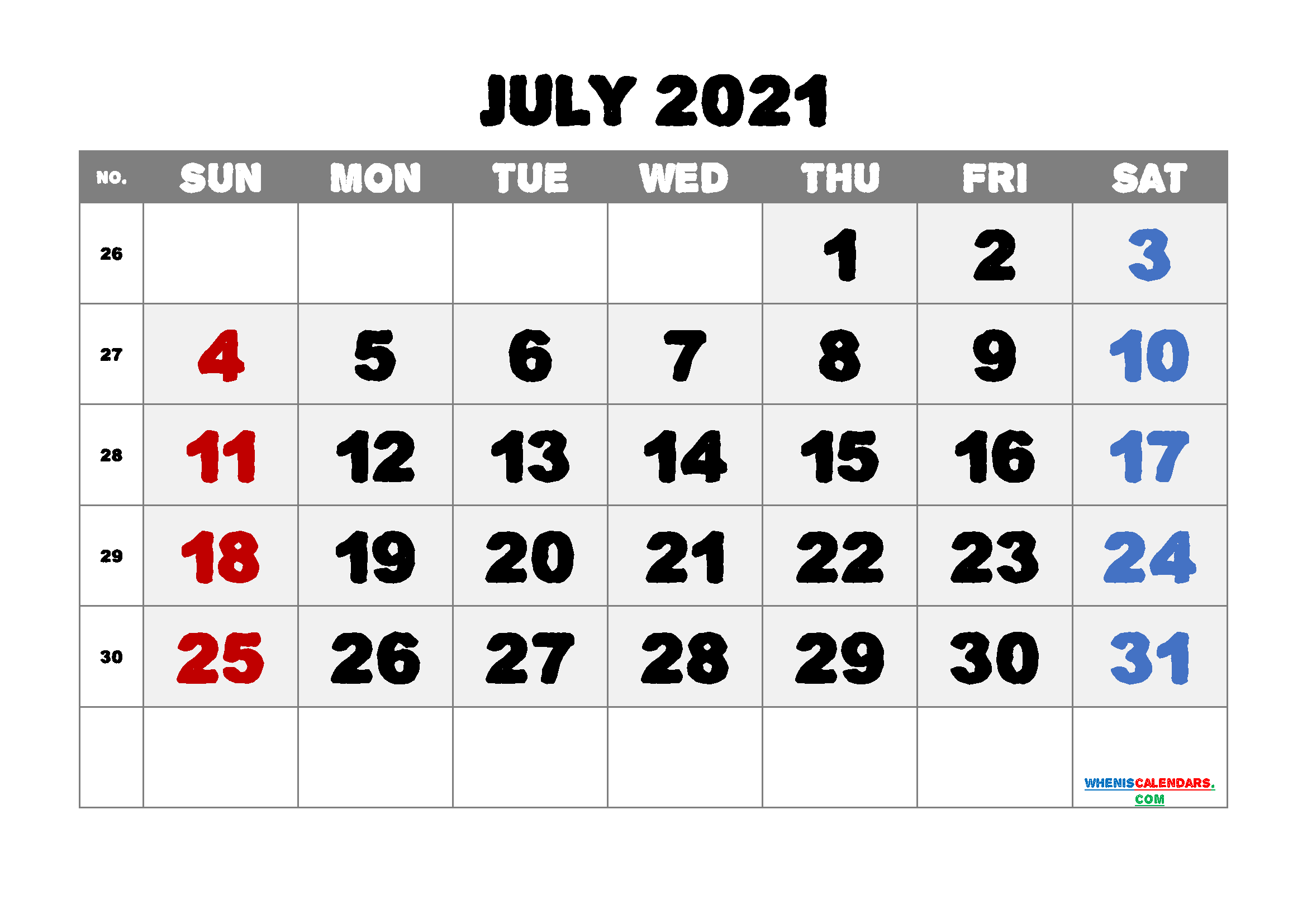 Printable July 2021 Calendar for Free