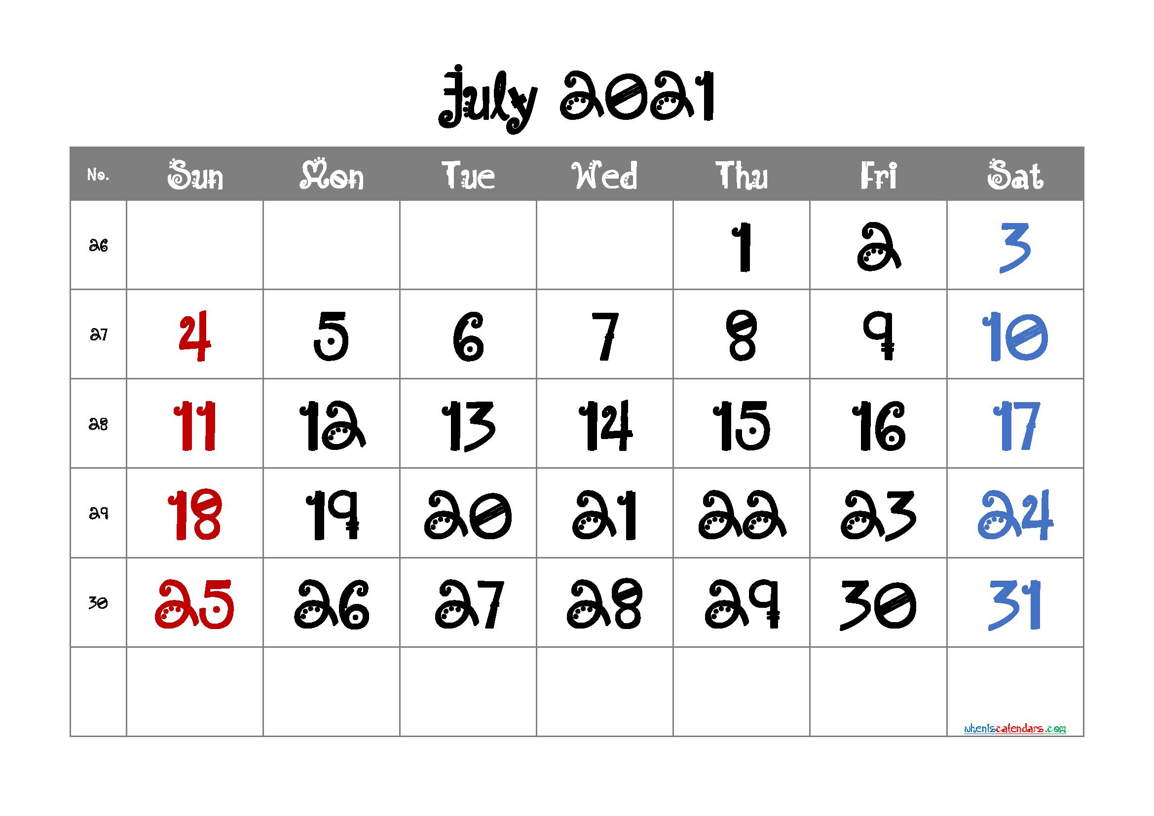 Free Printable Calendar July 2021