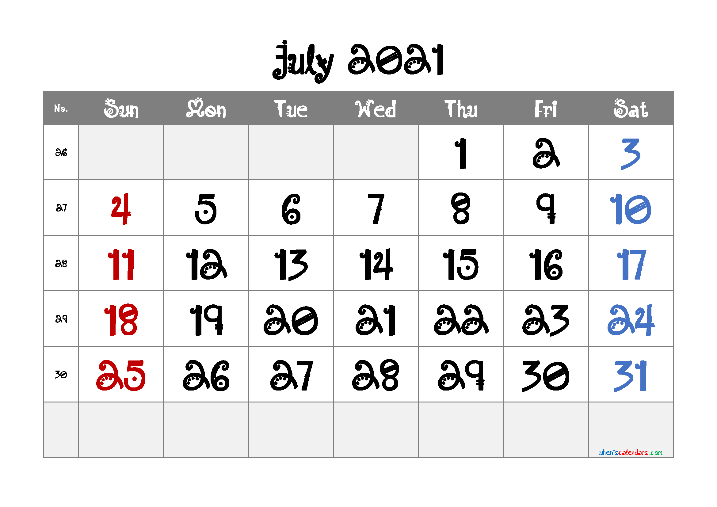 Editable Printable July 2021 Calendar