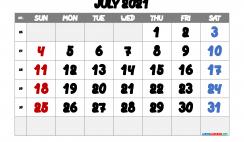 Printable July 2021 Calendar Free