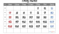 July 2021 Calendar Printable Free