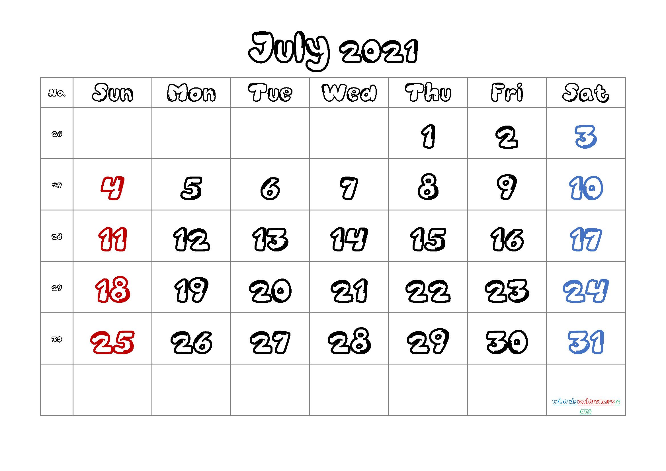 Calendar July 2021 Printable Free