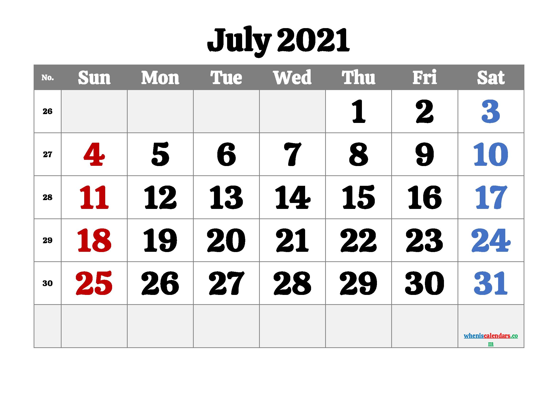 Printable July 2021 Calendar PDF