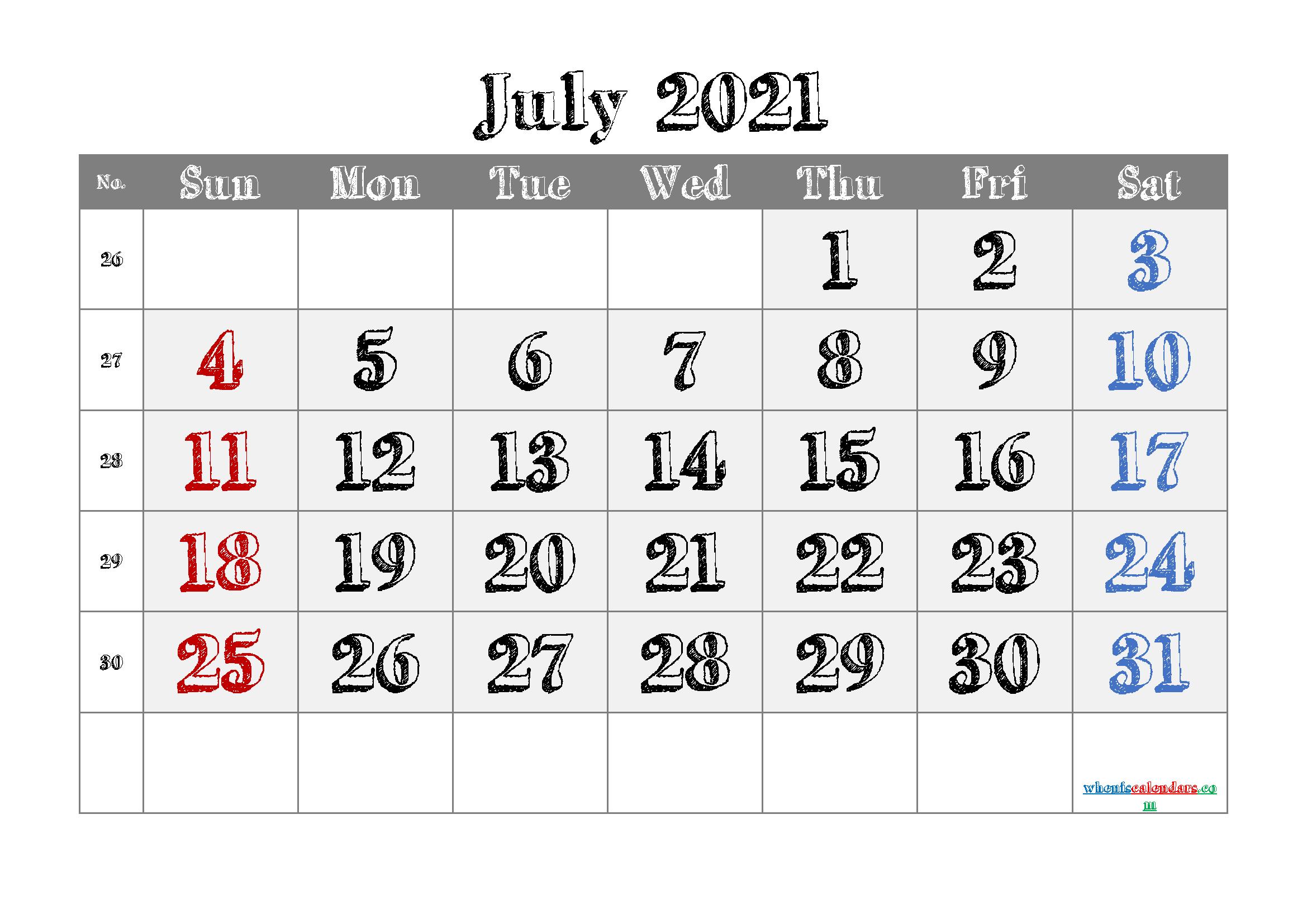 Free Calendar July 2021 Printable