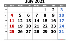 Calendar July 2021 Free Printable