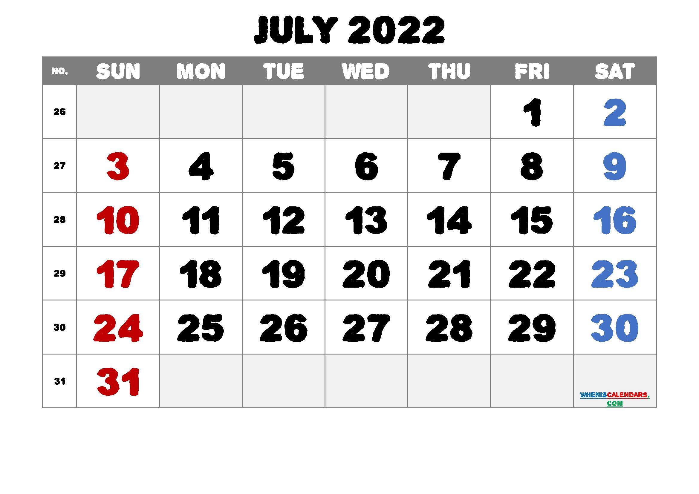 Printable July 2022 Calendar Free 12 Templates - Free ...
