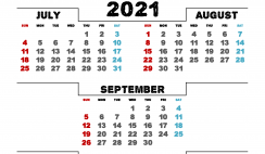 Printable July August September 2021 Calendar