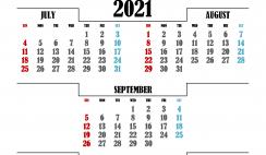 Free July August September 2021 Calendar Printable