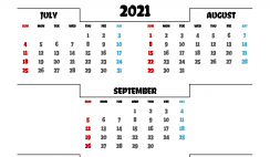 Calendar July August September 2021 Printable