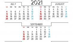 July August September 2021 Printable Calendar