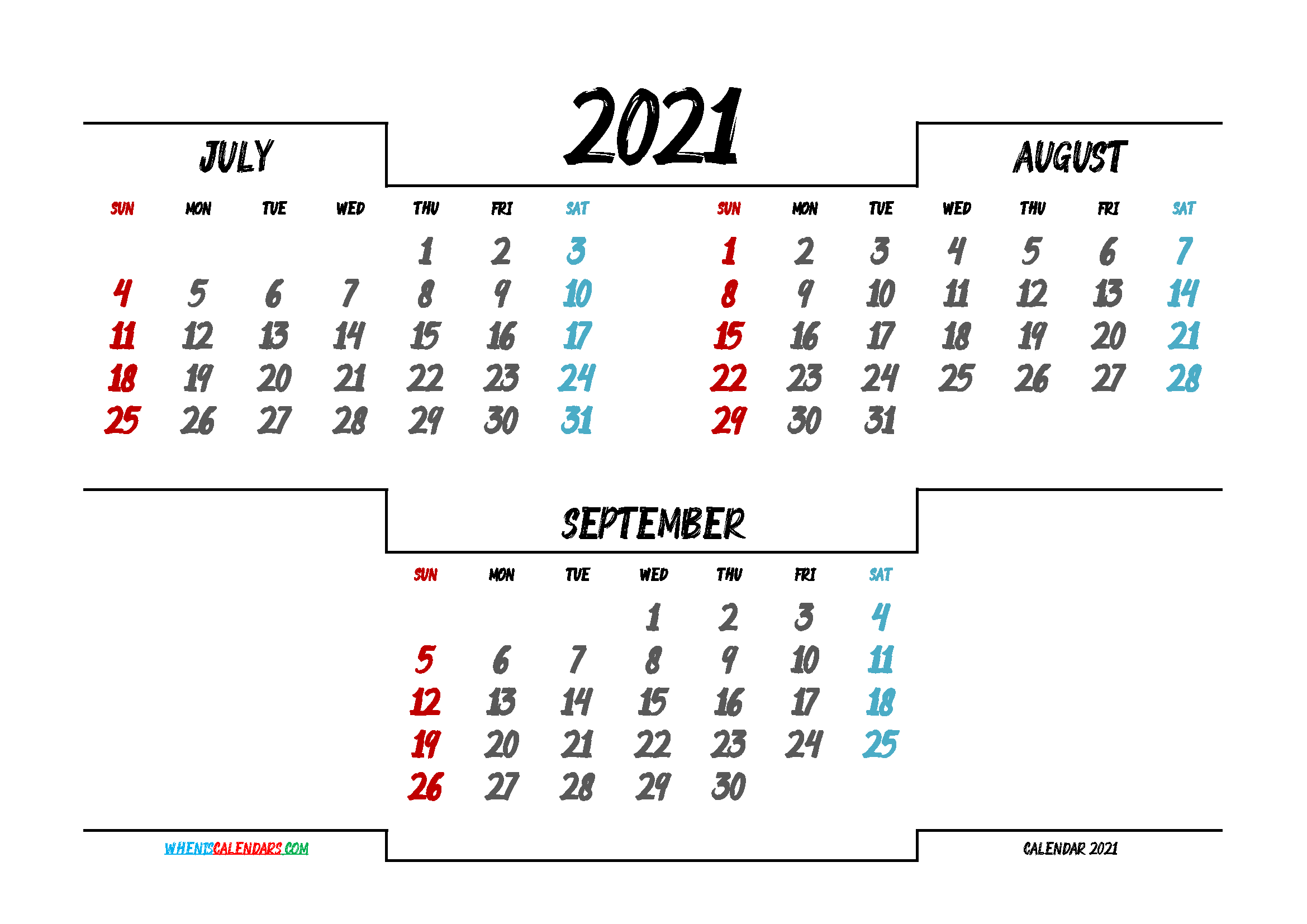 Printable July August September 2021 Calendar