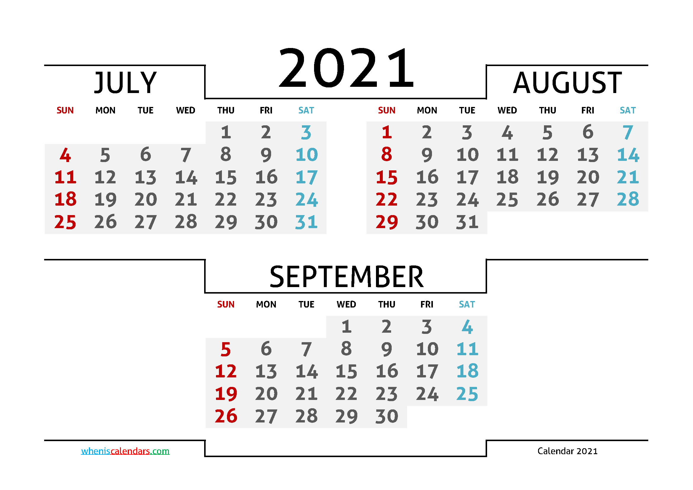 July August September 2021 Printable Calendar Free