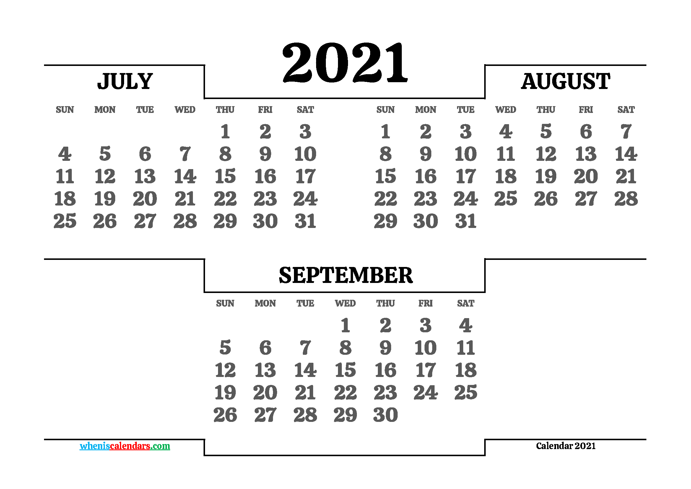 Free July August September 2021 Calendar Printable