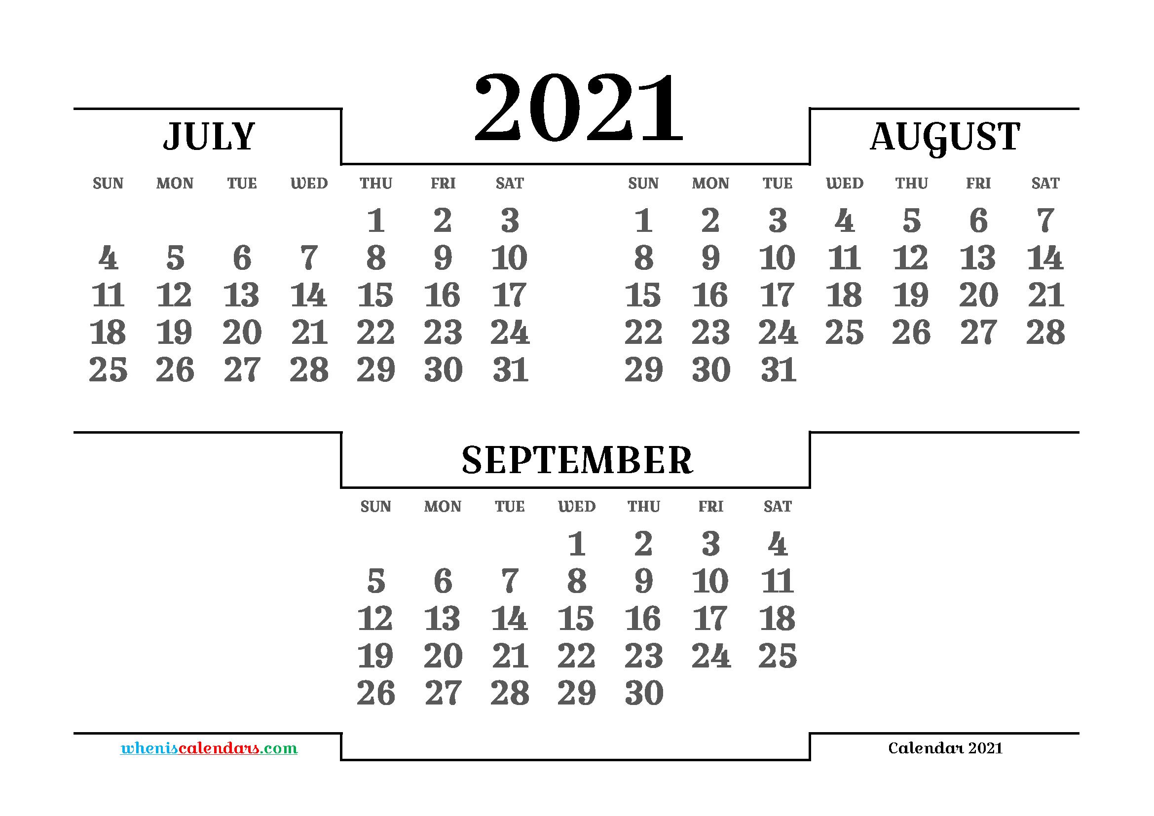 July August September 2021 Printable Calendar Free | 3 ...