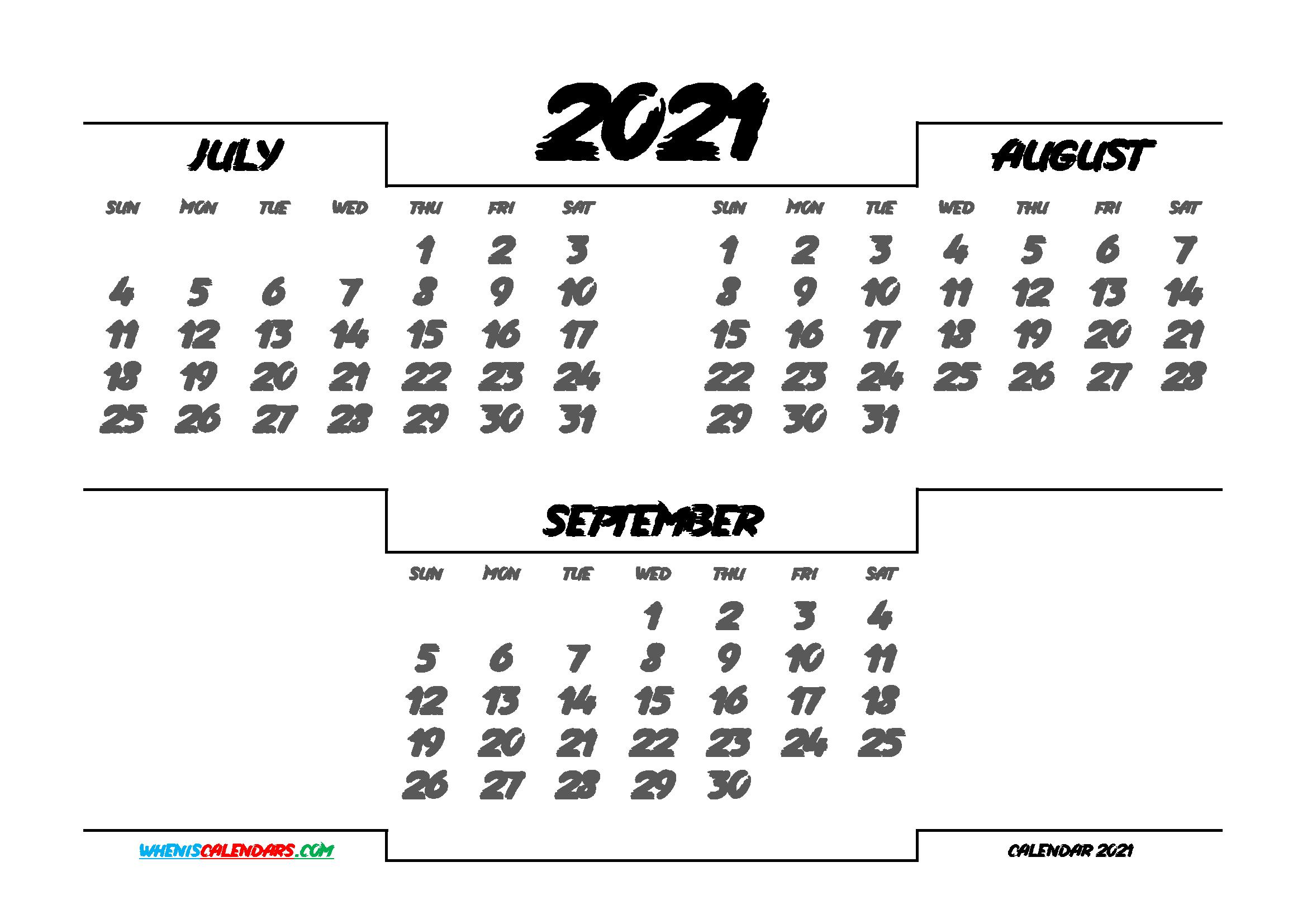July August September 2021 Calendar Printable