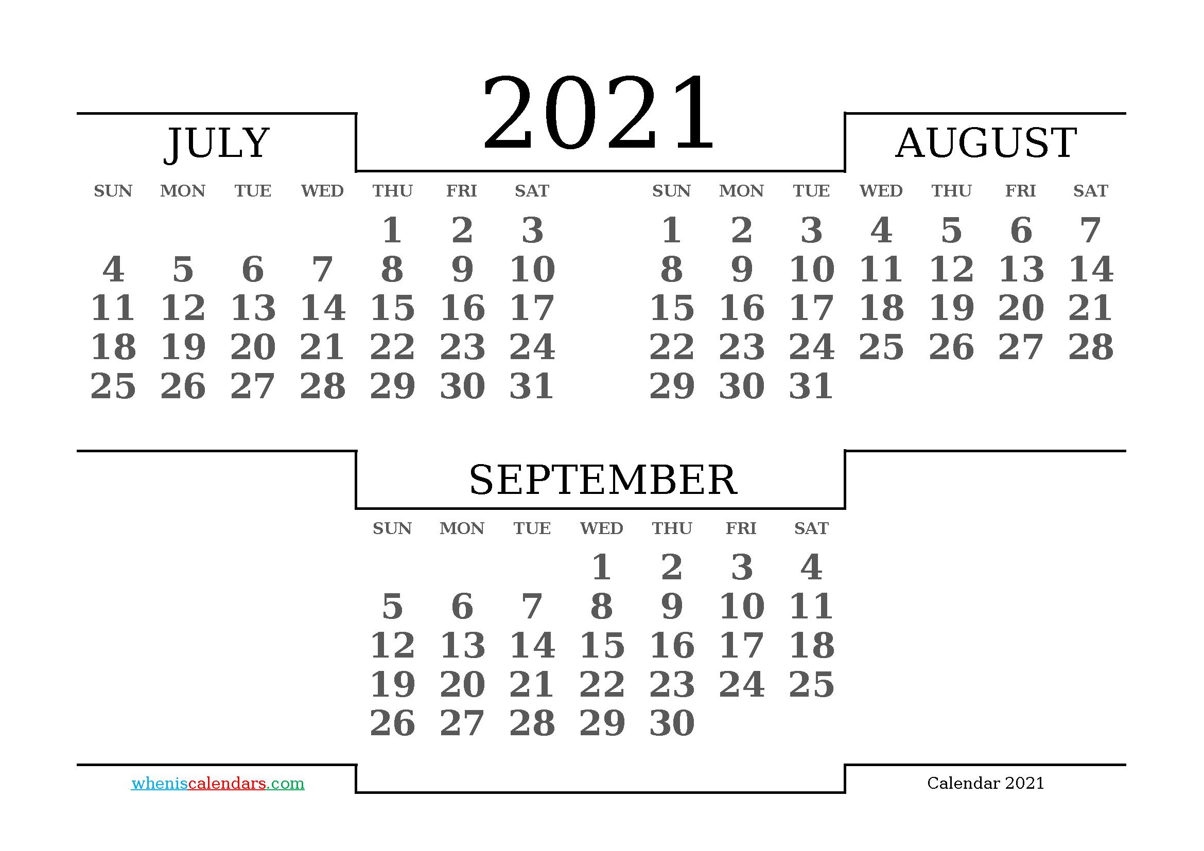 July August September 2021 Printable Calendar Free