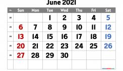 June 2021 Calendar Printable Free