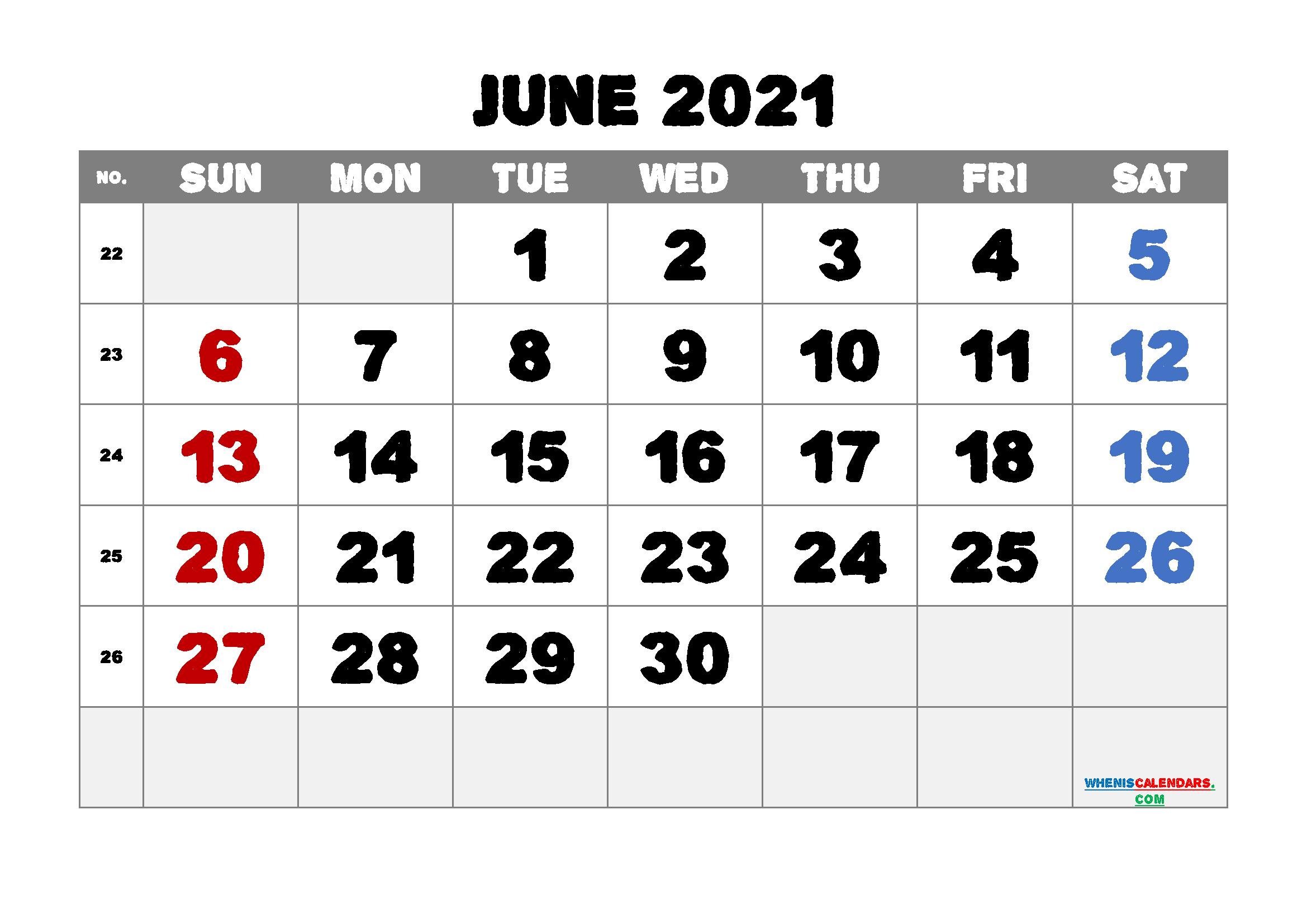 Editable June 2021 Calendar Free