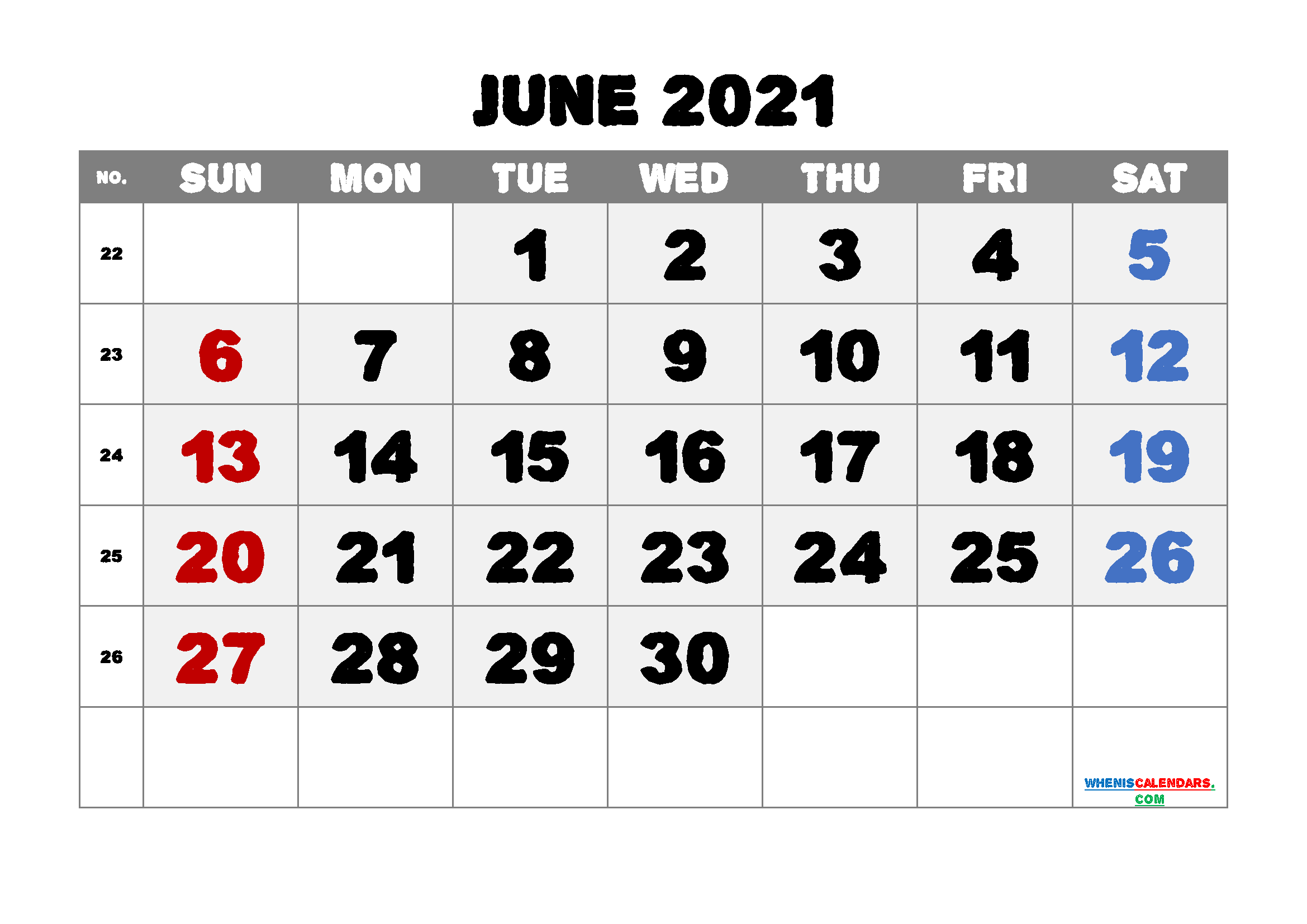 Printable June 2021 Calendar for Free