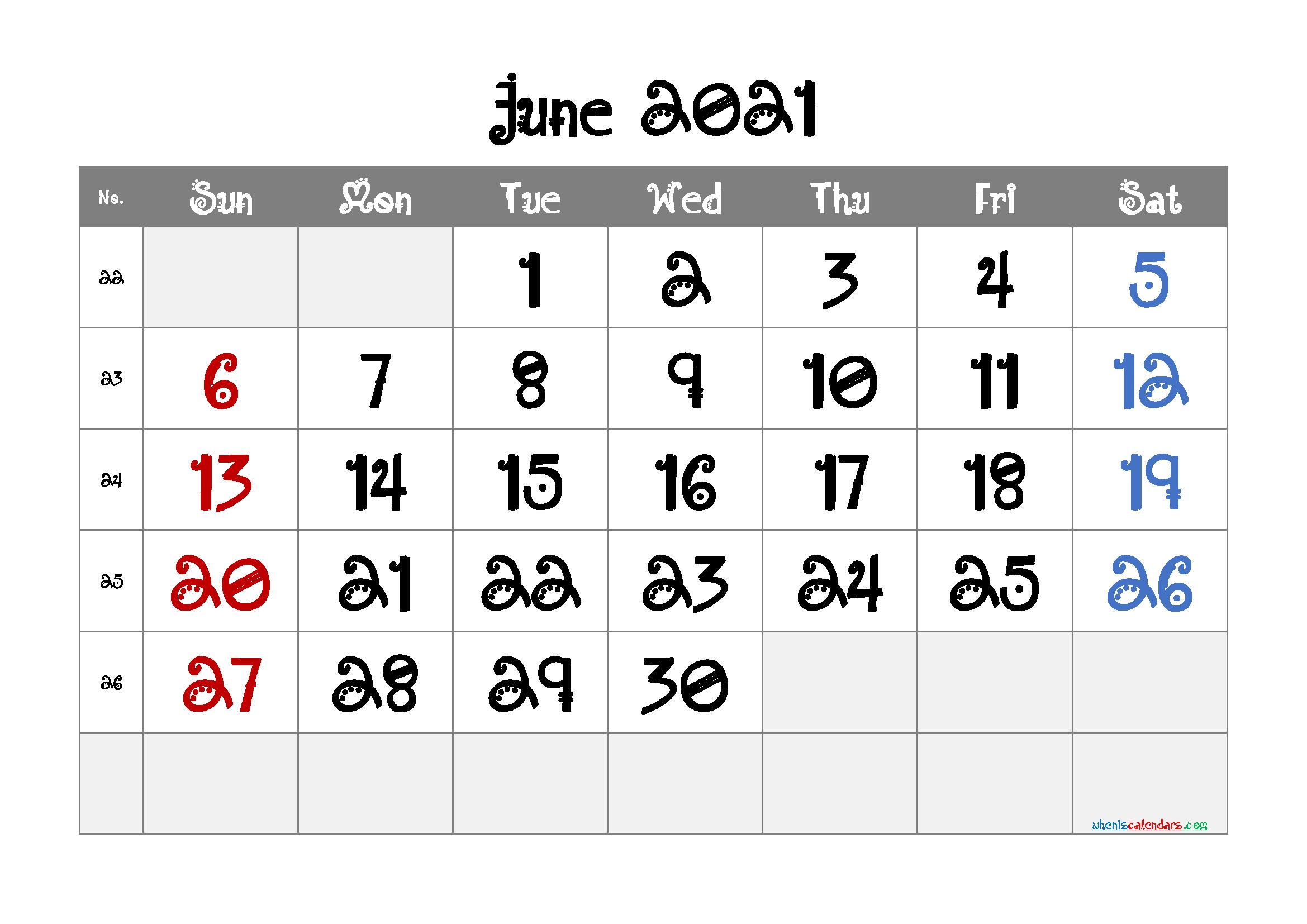 Editable Printable June 2021 Calendar