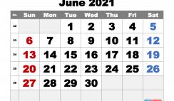 Printable June 2021 Calendar Free