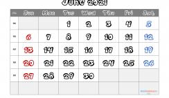 Printable June 2021 Calendar PDF