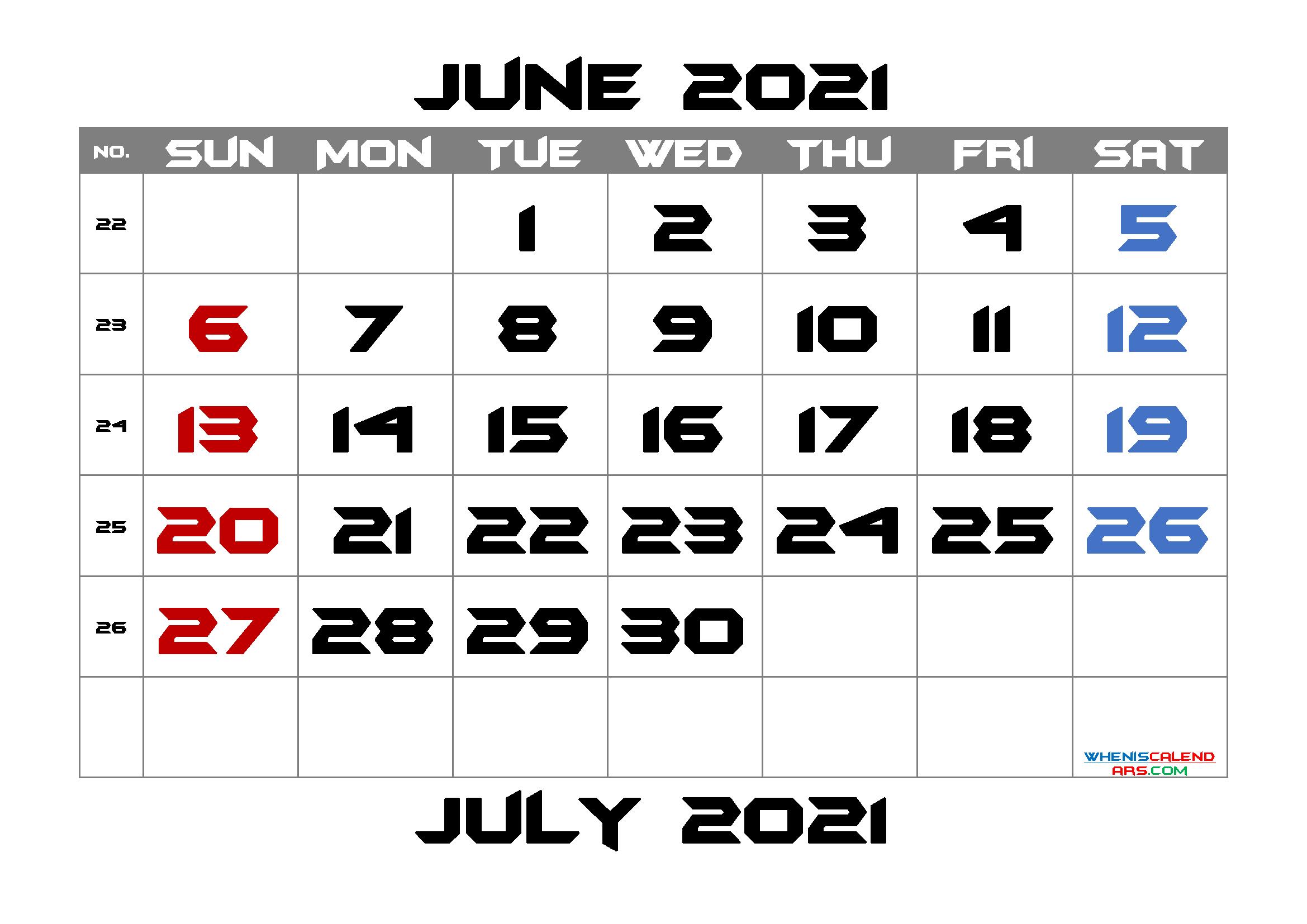 Calendar June 2021 Free Printable