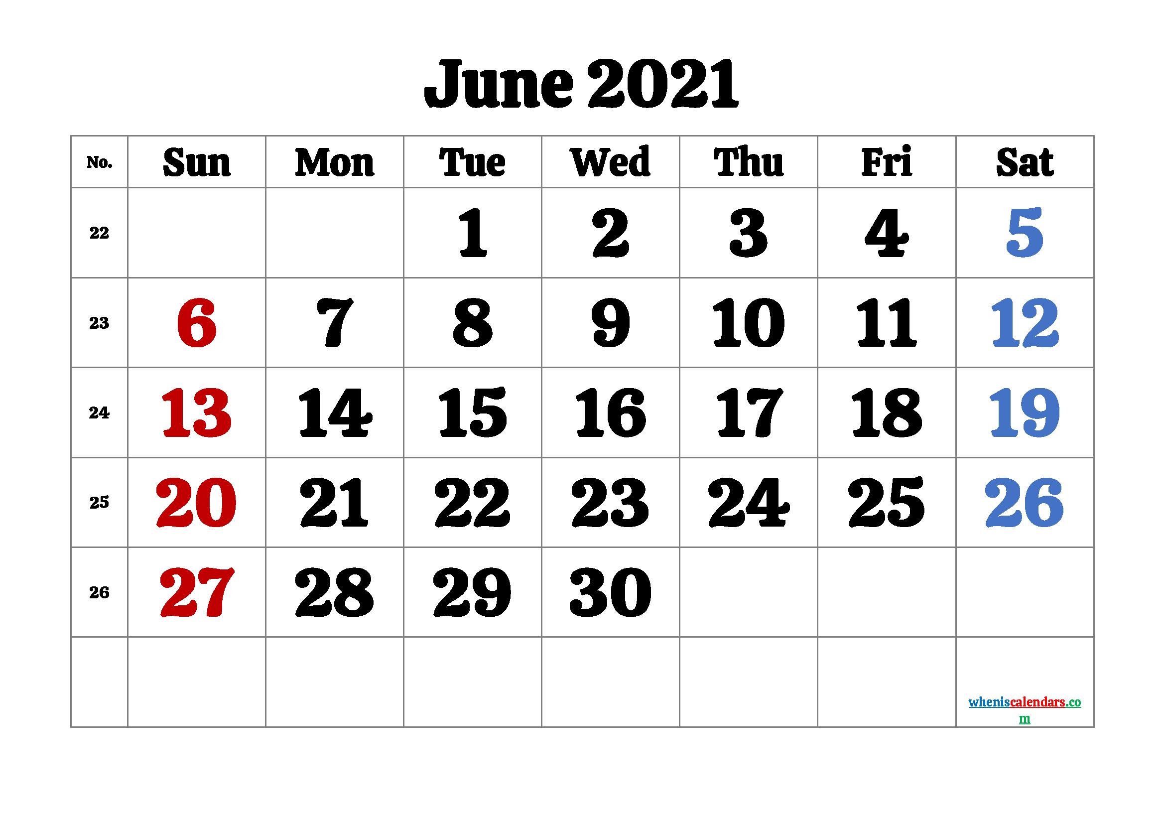 Calendar June 2021 Printable Free