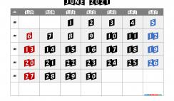 Free Calendar June 2021 Printable
