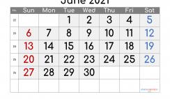 Editable June 2021 Calendar
