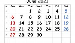 Free June 2021 Calendar Printable
