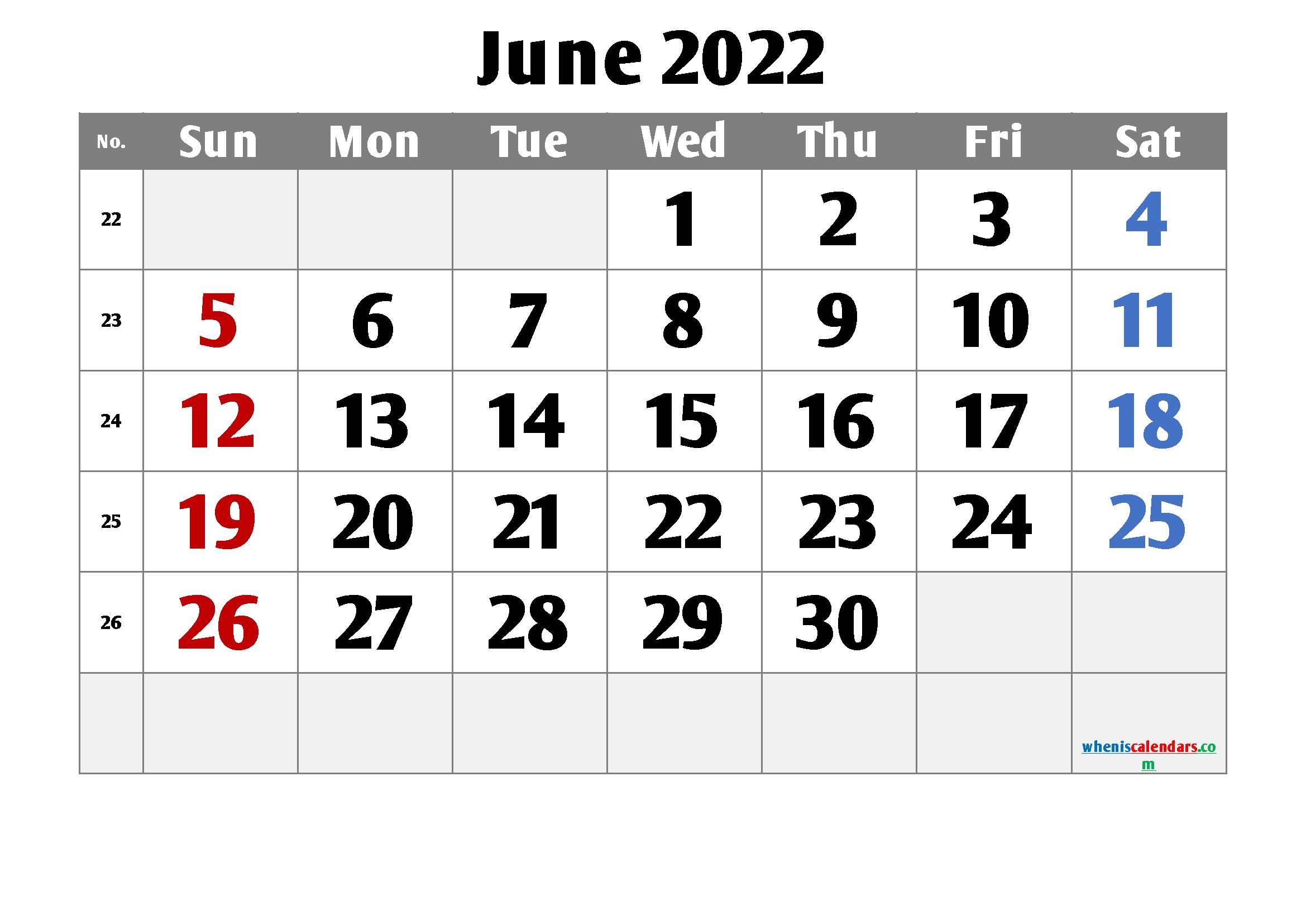 Printable June 2022 Calendar Free