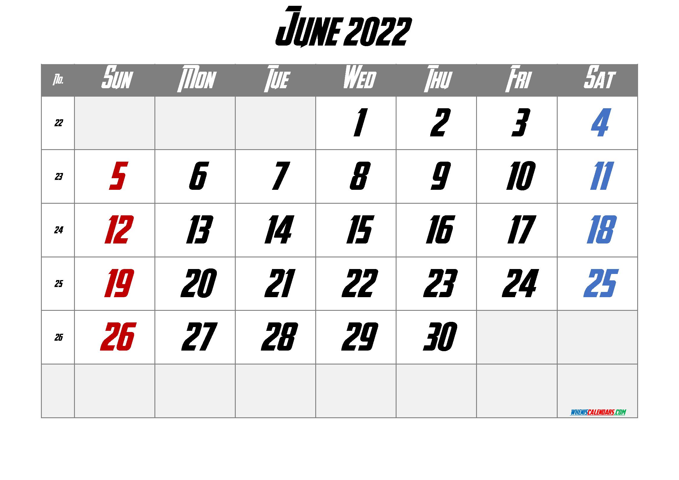 Printable June 2022 Calendar Free 12 Templates - Free ...