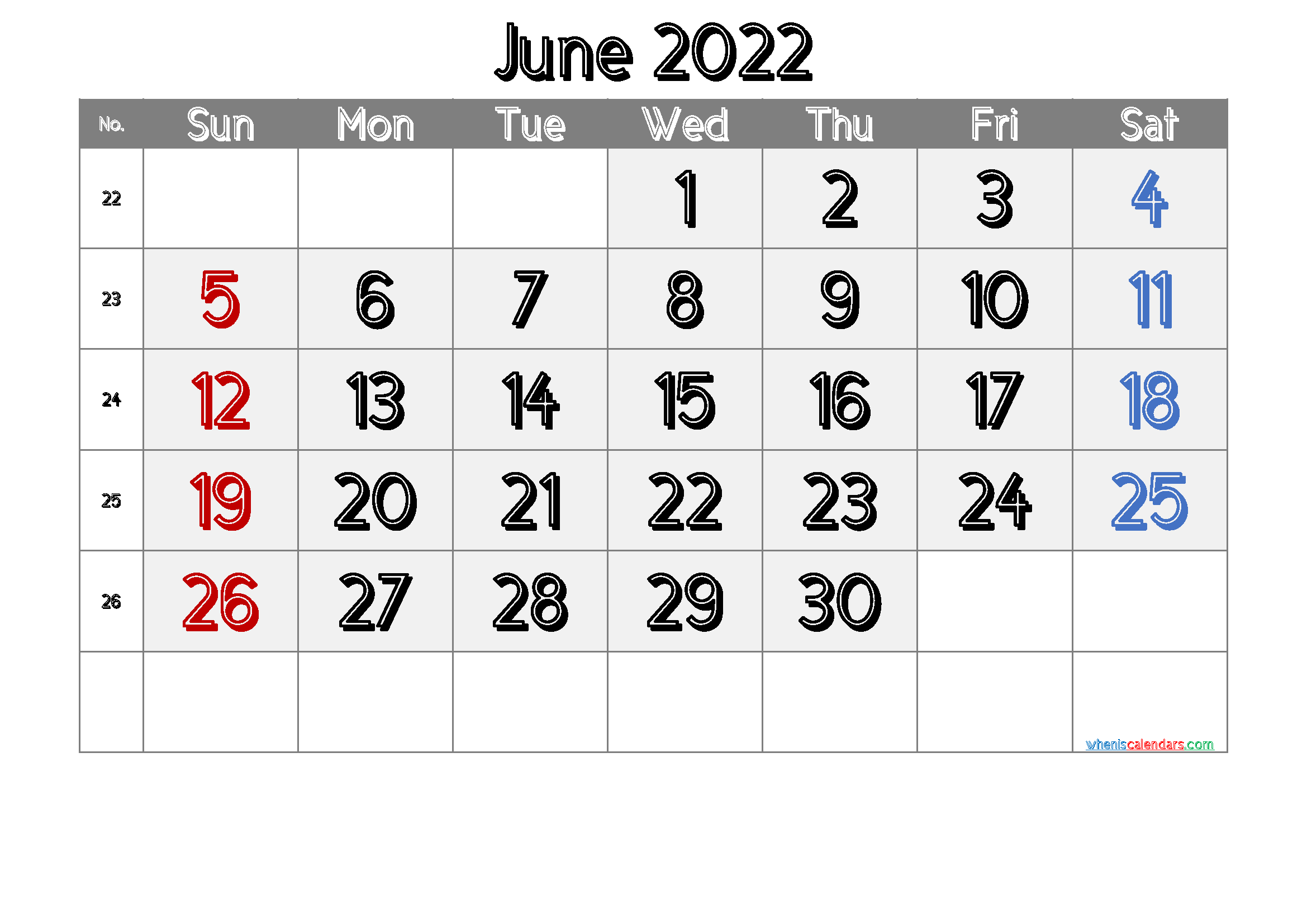Free Printable June 2022 Calendar